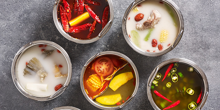 Individual Pots from Taikoo Lane Hotpot 太古里火锅 in Chinatown, Singapore