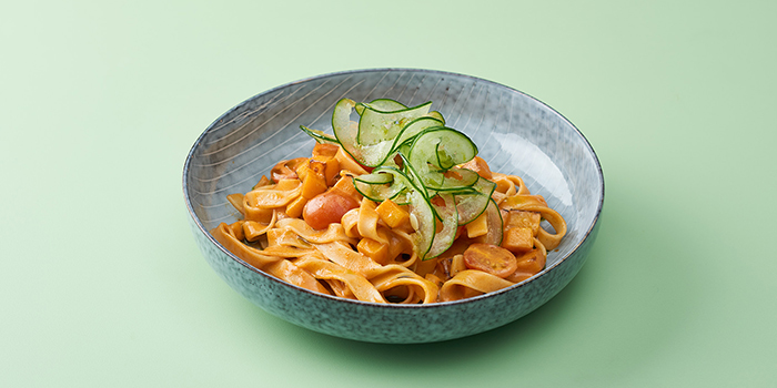 Tom Yum Fettuccine from The Garden Club at OUE Downtown Gallery in Tanjong Pagar, Singapore