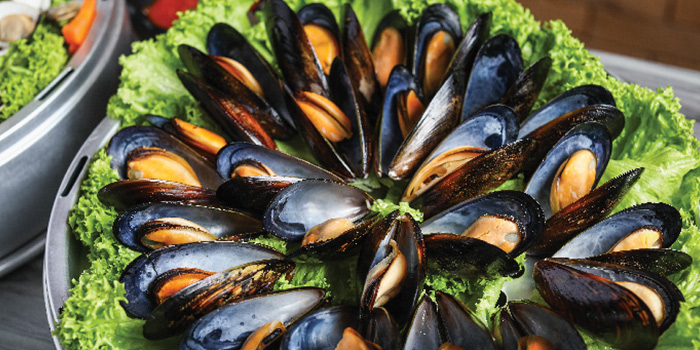 Steamed Blue Mussels from Captain K Seafood Tower at Midland House in Bugis, Singapore