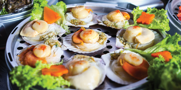 Steamed Hokkaido Scallops from Captain K Seafood Tower at Midland House in Bugis, Singapore
