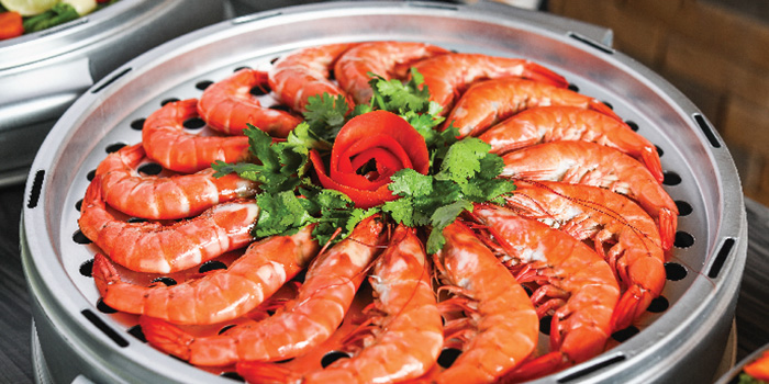 Steamed King Prawns from Captain K Seafood Tower at Midland House in Bugis, Singapore