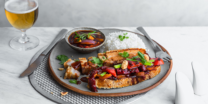 Kung Pow Pork Belly with Rice from Sky22 at Courtyard by Marriott Singapore Novena in Novena, Singapore