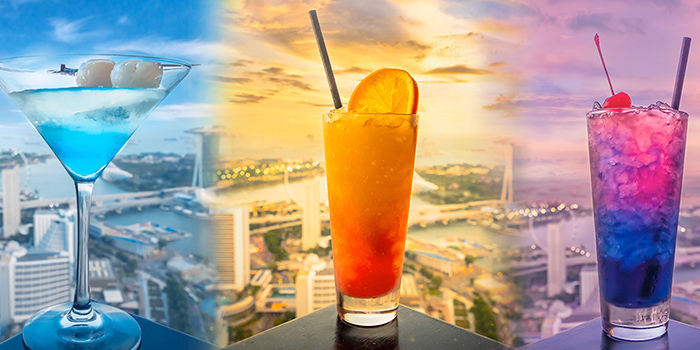 Singhai Sunset from Bar Rouge at Swissotel the Stamford in City Hall, Singapore