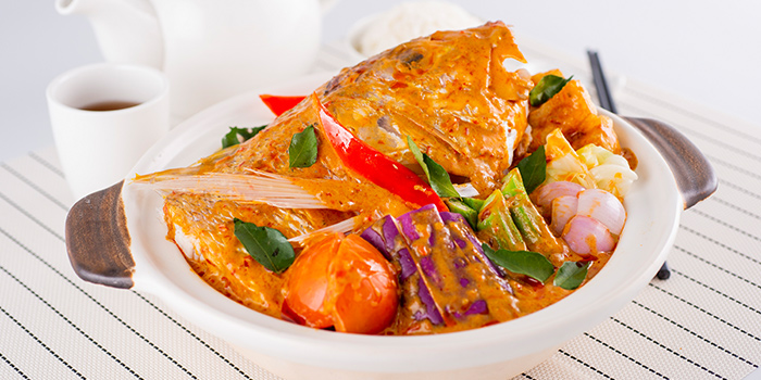 Traditional Fish Head Curry Fish in Claypot from Famous Kitchen in Sembawang, Singapore