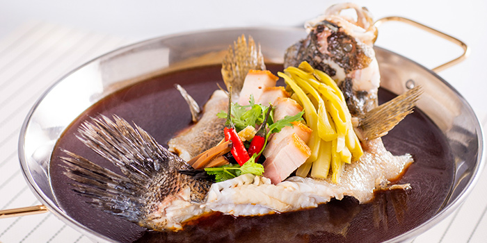 Marble Goby steamed with Preserved Vegetables on Hot Plate from Famous Kitchen in Sembawang, Singapore