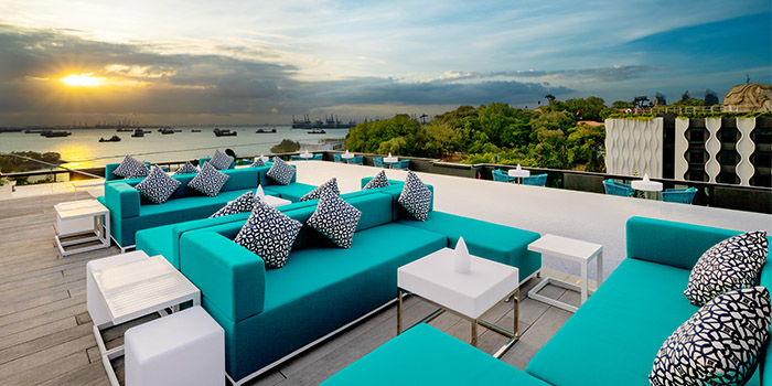 Seating of 1-V:U – Restaurant and Day Club at The Outpost Hotel in Sentosa, Singapore