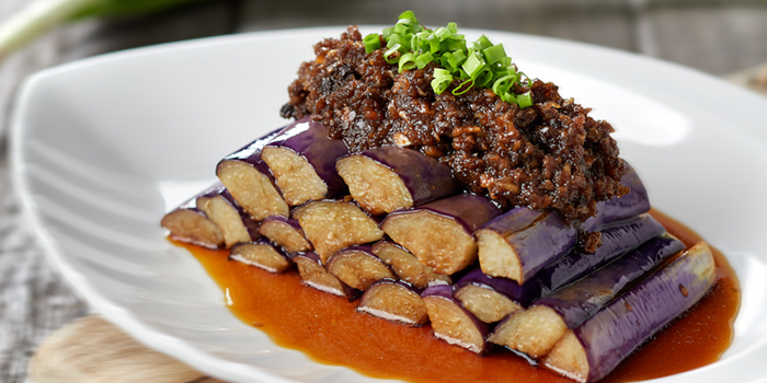 Eggplant with Black Garlic Sauce from Lai Bao Fish Head Steamboat 徕寶鱼头炉 in Toa Payoh, Singapore