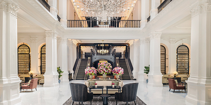 Interior of The Grand Lobby at Raffles Singapore in City Hall, Singapore