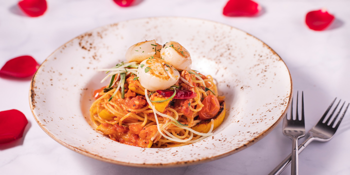 V Day - Stir Fried Scallop and Crab Meat Spaghetti , Glasshouse (IFC), Central, Hong Kong