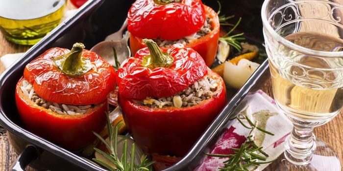 Yemista Bell Peppers from AVRA Authentic Greek Restaurant in Sukhumvit Soi 33, Bangkok