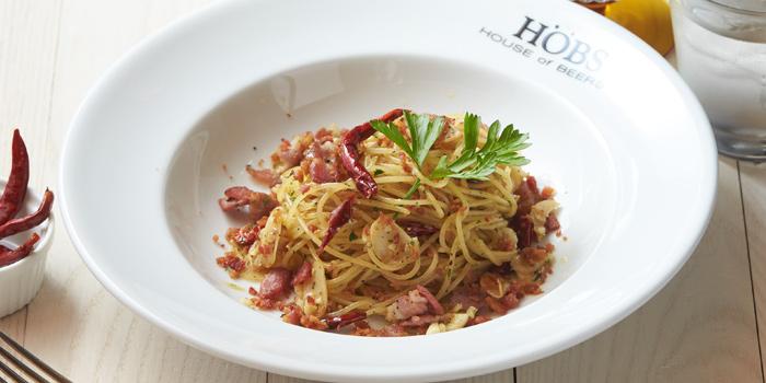 Spaghetti Garlic Olio Bacon from HOBS ICONSIAM at 299 ICONSIAM 6 floors Tassananakorn Terrace, Charoennakorn rd, Klongsarn Bangkok