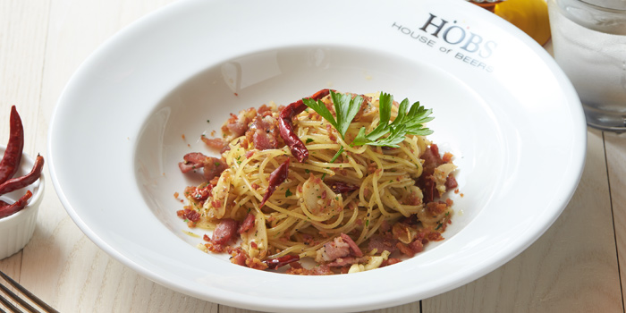 Spaghetti Garlic Olio Bacon from HOBS the Play House at Groove, Central world 1fl Ratchadamri Road Pathumwan District Bangkok