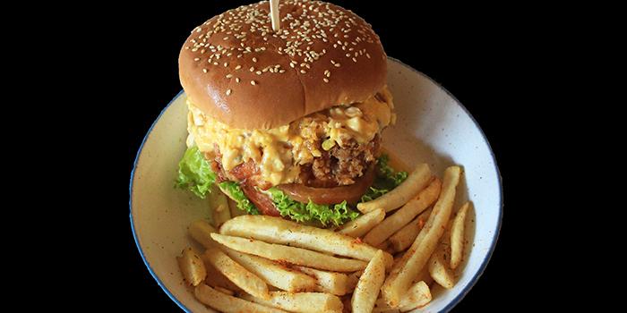 Egg-ploding Burger from Good Bites at Bishan Sports Hall in Bishan, Singapore