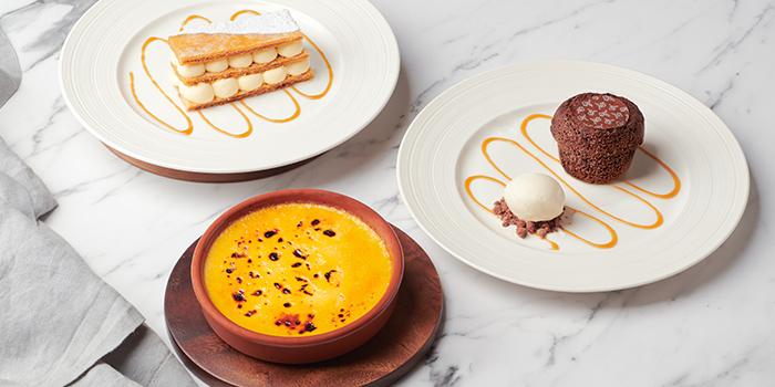 Desserts Selections - Crème Brûlée, Traditionnel Mille-feuille Vanille, Moelleux au Chocolat from Brasserie Les Saveurs at St. Regis Singapore in Tanglin, Singapore