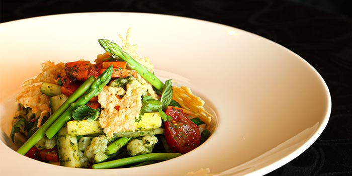 Lightly Poached Seasonal Vegetables Served with a Fresh Mint and Coriander Dressing, Prompt, Cyberport, Hong Kong