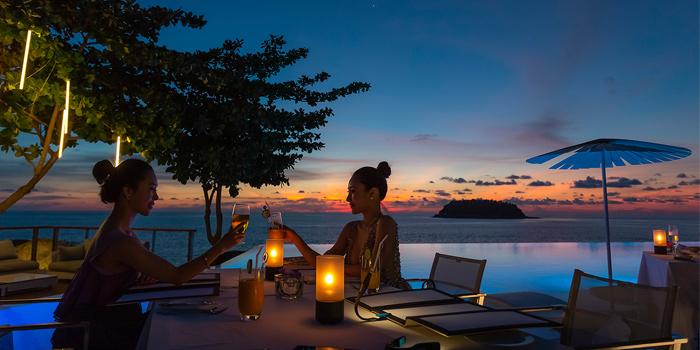 Ocean view from Oceanfront Restaurant in Kok-Tanode Road Karon Muang Phuket, Thailand