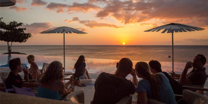 Sunset from Oceanfront Restaurant in Kok-Tanode Road Karon Muang Phuket, Thailand