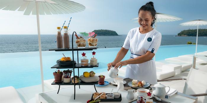 View from Oceanfront Restaurant in Kok-Tanode Road Karon Muang Phuket, Thailand