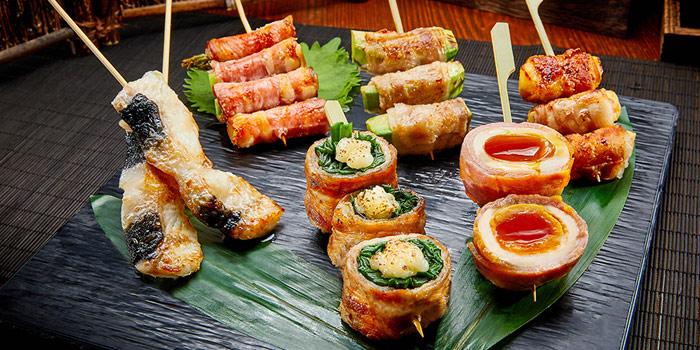 Grilled Avocado & Pork roll, Asparagus & Bacon roll, Eggs, KIDO Yakitori Kushiage, Tsim Sha Tsui, Hong Kong