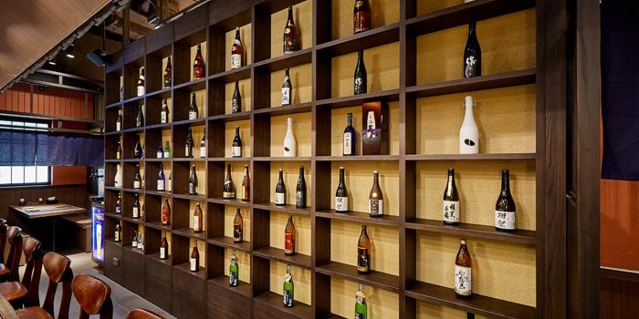 Sake cabinet, KIDO Yakitori Kushiage, Tsim Sha Tsui, Hong Kong