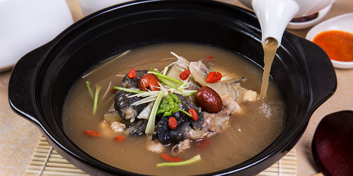 Double Boiled Tonic Soup with Crocodile Meat  from East Treasure Chinese Restaurant Chinese Restaurant in Clarke Quay, Singapore