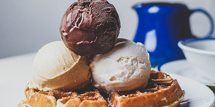Waffle with Homemade Ice Cream from Group Therapy Coffee (Cross Street Exchange) in Telok Ayer, Singapore