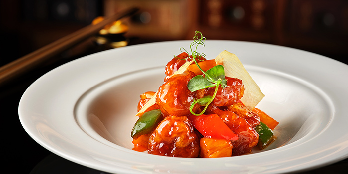 Sweet and Sour Pork with Pineapple from Jiang-Nan Chun Restaurant at Four Seasons Hotel Singapore in Tanglin, Singapore