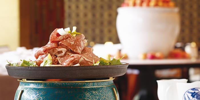Broiled Australian Wagyu Beef Slices with Shandong Leek Served with Sesame Puffs, Golden Flower, Wynn Macau, Macau