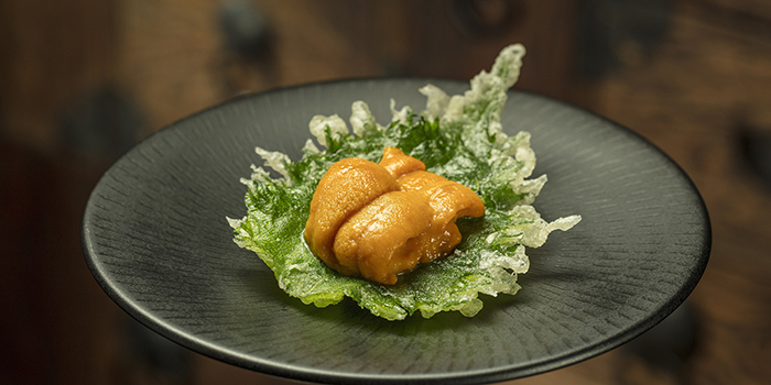 Shiso Tempura with Hokkaido Sea Urchin on Top, Mizumi, Wynn Palace, Macau