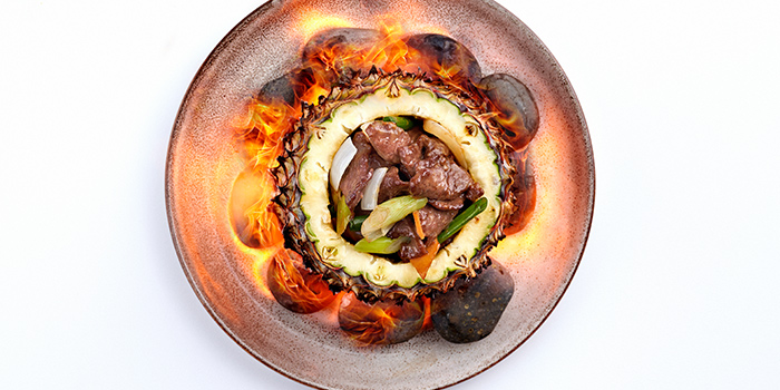 Venison in Flaming Pineapple Flames from Peach Garden (OCBC Centre) at OCBC Centre in Raffles Place, Singapore