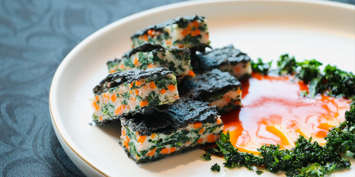 Deep-fried Mashed Shrimp Cake with Kale in Cuttlefish Ink, Nam Fong, Cyberport, Hong Kong