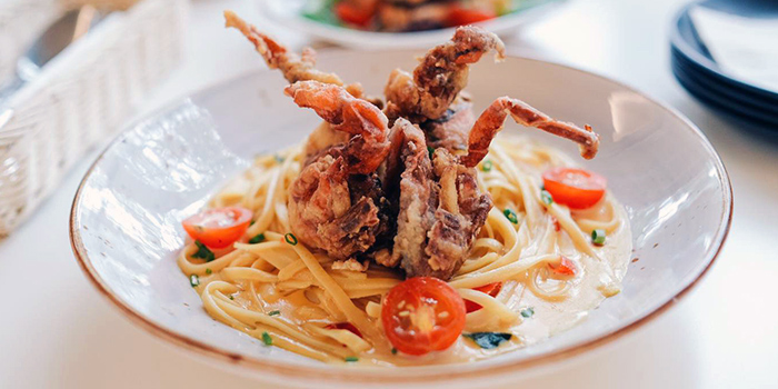 Salted Egg Yolk Pasta with Soft Shell Crab from KARA Cafe & Dessert Bar in Bukit Timah, Singapore