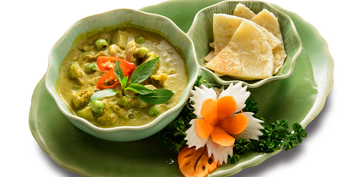Thai Green Curry Chicken served with Roti Prata  from Thai Accent at VivoCity in Habourfront, Singapore