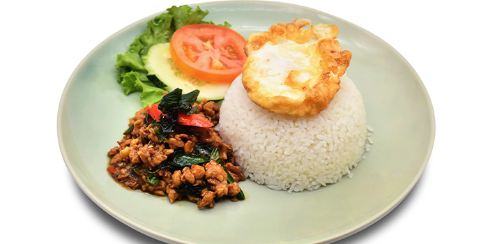 Stir Fried Minced Chicken with Hot Basil Leaf Topped with Sunny Side Up  from Thai Accent at VivoCity in Habourfront, Singapore