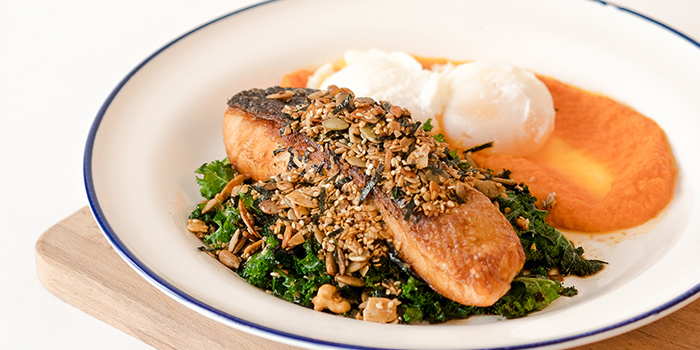 Fine seaweed Granola Salmon from Grids & Circles in Chinatown, Singapore