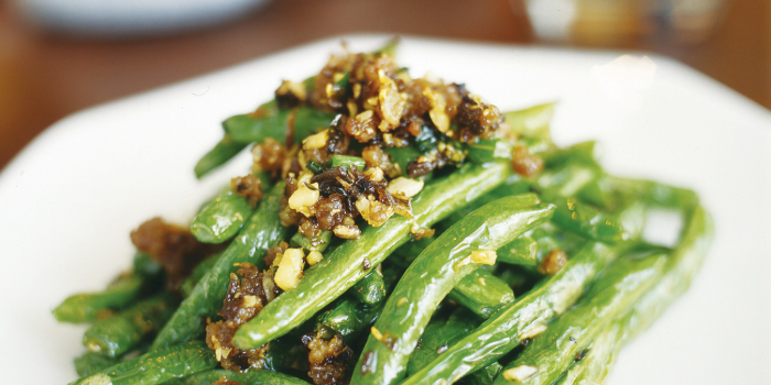 Wok-fried French Beans with Minced Pork from Silk Road Restaurant at Amara Hotel in Tanjong Pagar, Singapore