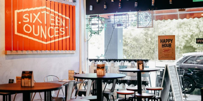 Interior of Sixteen Ounces Craft Beer Bistro in Bukit Timah, Singapore