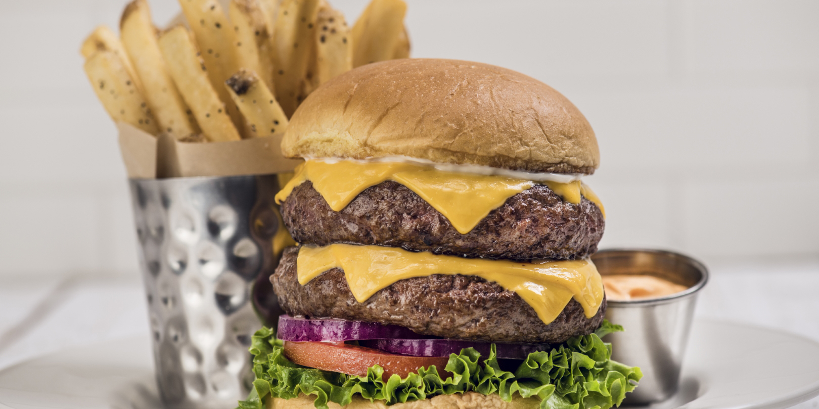 Double Decker Burger Burger from Hard Rock Cafe Bangkok in Siam Square Soi 11, Bangkok