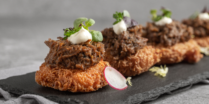 Rillette of Beef Rendang on Rosti  from Tiger Street Lab at Jewel Changi Airport in Changi, Singapore