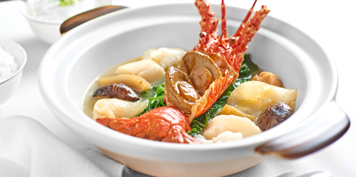 Poached Boston Lobster with Abalone, Scallop, Fresh Fish Maw Mushroom and Vegetable in Rich Chicken Broth from Cassia at Capella Hotel on Sentosa Island, Singapore