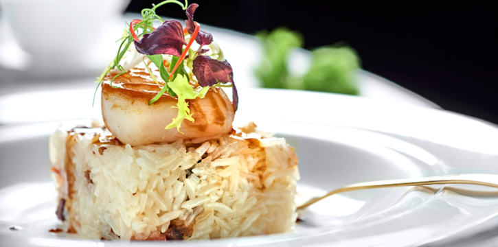 Pan-Fried Scallop, Fried Rice with Preserved Chinese Sausages from Cassia at Capella Hotel on Sentosa Island, Singapore