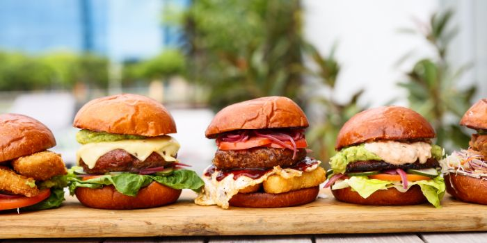 Burgers from Super Loco Customs House at Customs House in Raffles Place, Singapore