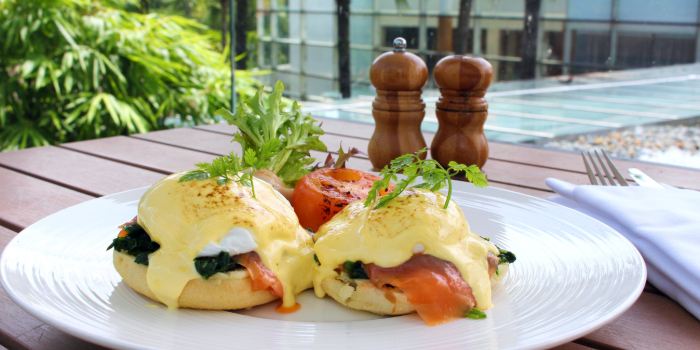 Eggs Benedict with Smoked Salmon from Shutters at Amara Sanctuary in Sentosa, Singapore