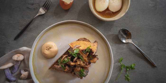 Mushroom on Toast from Cheek Bistro in Raffles Place, Singapore