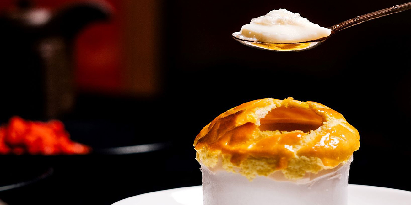 Ginger Milk Pudding with Puff Pastry and Wolf Berries of River Café & Terrace at The Peninsula Bangkok