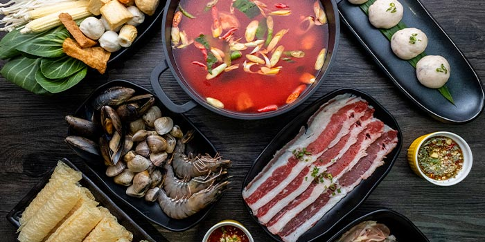 Spread from Suki-Suki Thai Hot Pot in Yishun, Singapore