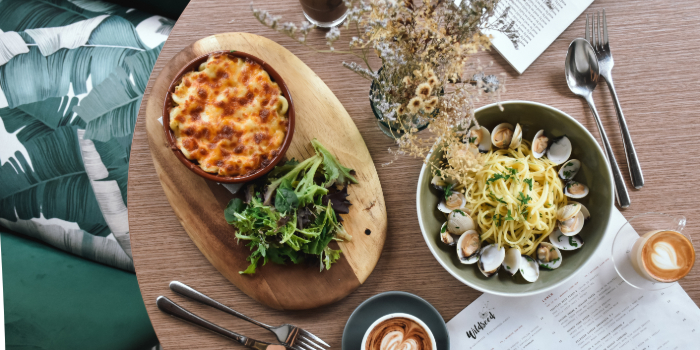 Loaded Mac & Cheese, Aglio e Olio Vongole Linguine from Wildseed Cafe at The Alkaff Mansion in Telok Blangah, Singapore