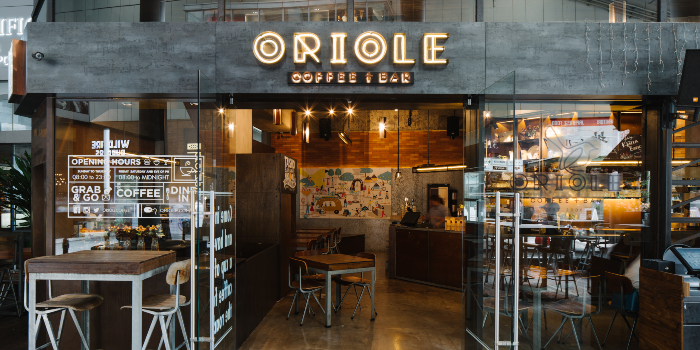 Exterior of Oriole Coffee + Bar at Pan Pacific Serviced Suites in Orchard, Singapore