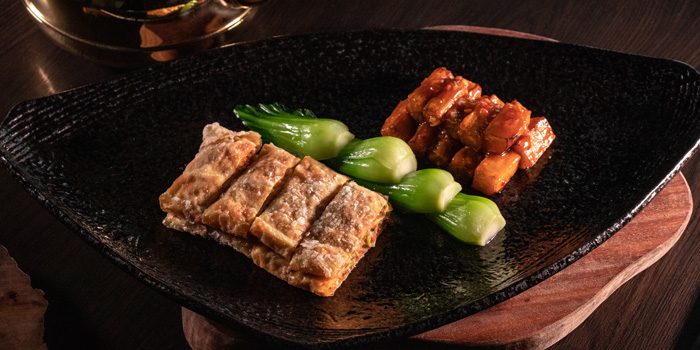 Braised Eggplant, Bean Curd Sheets in Chilli Sauce, Above & Beyond, Hotel Icon, Tsim Sha Tsui East, Hong Kong