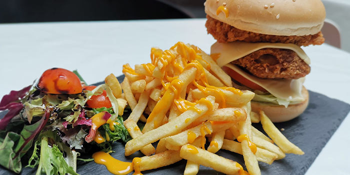 Double Chicken Cheese Burger from Bistro XY in Bugis, Singapore
